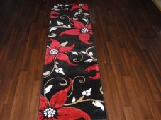 Runners 60x220cm Aprox 8ft Hand Carved Super Quality Lily Black/Red No shedding